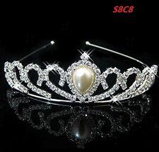 Bridal Pearl Crown Head Tiara Crystal Hair Pageant Princess Queen Crown S8C8