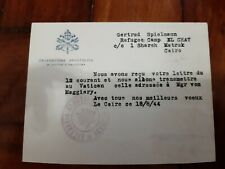 WWII Vatican Secretary of State 1944 letter Military Egypt and Palestine