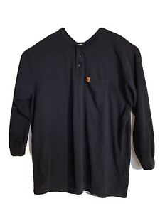 Wrangler FR Riggs Workwear Henley Flame Resistant Long Sleeve Blue Shirt 3XT