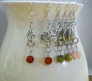 Handmade Silver Lotus Flower Gemstone Hook Earrings Jade, Citrine, Rose Quartz