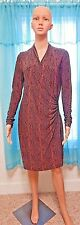 Norma Kamali Size M Vintage Faux Wrap Brown Ruched Dress Snakeskin Long Sleeve