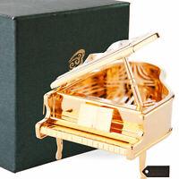 Matashi 24K Gold Plated Crystal Studded Grand Music Piano Ornament For Christmas