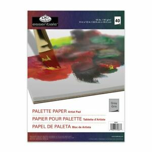 """Grey artists paint palette paper tear off 40 sheets 9""""x12"""" mixing tray"""