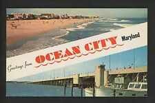Postcard Greetings from Maryland MD Ocean City beach Highway bridge chrome