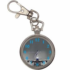 Boeing 747 Silver Key Ring Chain Pocket Watch