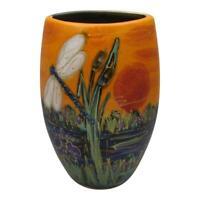 Anita Harris Art Pottery 16  cm Oval Vase Dragonfly Design Exclusive Colourway