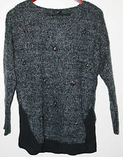 Jessica Simpson Women's Slash Sweater with Embellishment Charcoal Size XS