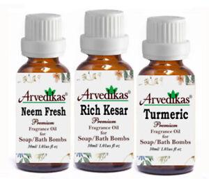 Set Of 3 Arvedikas Neem F-Rich Kesar-Turmeric Fragrance Oils for Soap 30ml