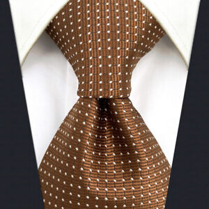 S&W SHLAX&WING Ties for Men Brown Copper Formal Neck Tie with White Dots