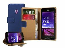 Wallet BLUE Leather Flip Case Cover Pouch For Asus Zenfone 5 - A501CG