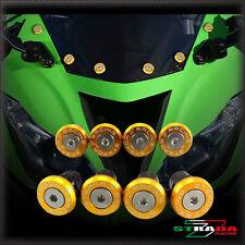 Strada 7 Racing CNC Pare-Brise Vis Carénage Kit 8pc Kawasaki ZX636R 00-03 Or