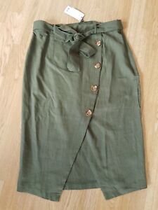 LIPSY Olive Green LINEN FLAX Asymmetrical KHAKI BUTTON MIDI SKIRT 16 Military