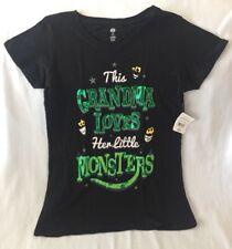 """NEW Black Halloween T-Shirt """"This Grandma Loves Her Little Monsters"""" Women Small"""