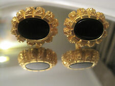 MINT!  Gold-Tone Nugget-Style Cufflinks with Onyx, Signed Destino