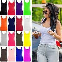 Ladies Womens Casual Plain Sleeveless Cotton Vests Tank Tops T-Shirt Vest Top