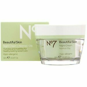 No 7 Beautiful Skin Night Cream, Normal / Oily, Hydrates and Mattifies