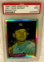 MICKEY MANTLE 1996 FINEST REFRACTOR #11 1961 TOPPS PSA 9 MINT VERY RARE YANKEES
