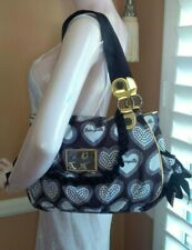 BETSEYVILLE By Betsey Johnson Black, White & Gold Hearts & Bows Shoulder Bag