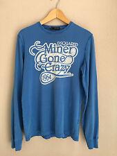 DSQUARED Herren Longsleeve Langarm Shirt blau Gr. M Vintage LOOK Prints