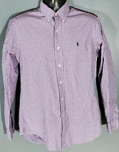 Ralph Lauren Custom Fit Mens Purple Gingham Plaid Long Sleeve Button Down Medium