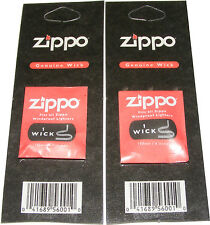 2 x ORIGINAL GENUINE ZIPPO WICK / WICKS  - FITS ALL ZIPPO LIGHTERS - NEW
