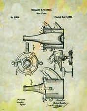 Wine Tasting Patent Poster Art Print Wine Rack Glasses Corkscrew Barrel PAT93
