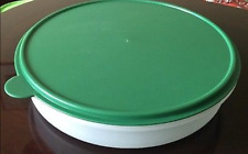 "Tupperware Pie Cookies Cupcake & Pizza Container 12"" Round Hunter Green Seal New"