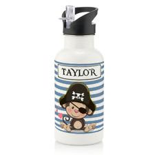 Personalised Monkey Pirate Boys Gift 600ml Kids Children's Water Drinks Bottle