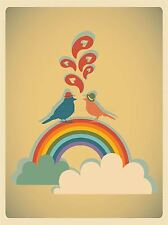 ART PRINT POSTER PAINTING DRAWING CARTOON BIRDS RAINBOW HEARTS LOVE LFMP0969