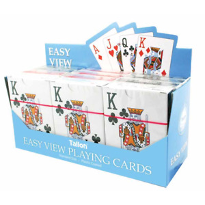 1 PK Tallon Games Plastic Coated Easy Large View Playing Cards Deck