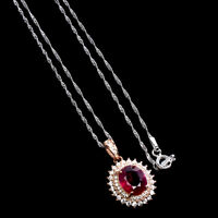 Oval Red Ruby 10x8mm Cz 14K Rose Gold Plate 925 Sterling Silver Necklace 18inchs