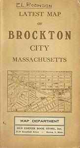 Original 1914 Streetcar Map BROCKTON Massachusetts Montello Campello NYNH&H RR