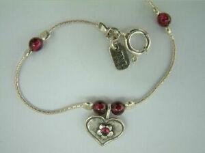 New Shablool Jewelry Women Sterling Silver Bracelet round Shape bordaux Garnet