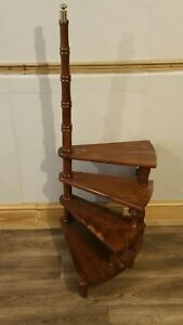 Vintage 19th Century Mahogany Spiral Library Steps/ Step Ladder Planter