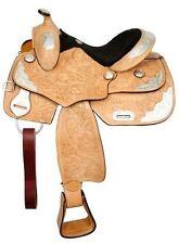 "Fully tooled Double T youth show saddle.14"""