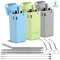 Reusable Straws Metal Folding Collapsible Drinking Straw & Cleaning Brush 3-PACK