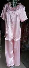 Pretty Silk Satin Effect Pajamas, in pink with embroidery