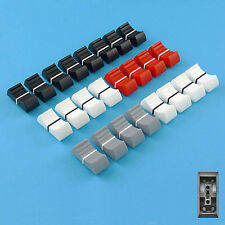 MIXER SLIDER Fader Knobs 4mm Fit Set of 24 - Black x8, White x8, Grey x4, Red x4