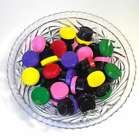 25 Colorful Small 1/2 OZ 1Tbls BLACK Plastic Jars Color Caps DecoJars #3803