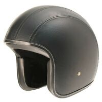 L Large M2R Cafe Racer 225 Leather Retro open face motorbike helmet - no peak