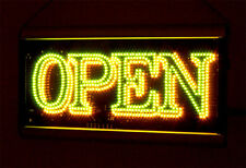 SUPER BRIGHT ANIMATED  Green & Yellow LED OPEN SIGN G/Y