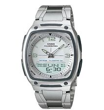Casio AW81D-7A Men's Metal Band White Dial Analog Digital Telememo 30 Watch