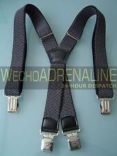 MEN'S MEN HEAVY DUTY BRACES Suspenders GREY 40mm! X-shape BIKERS CONSTRUCTION