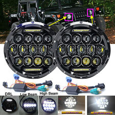 """For Hummer H1 H2 H3 H3T 7"""" Inch 75W Round LED Headlight Sealed Beam Lamp H4-H13"""