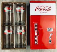 VINTAGE Coca Cola 4 PC 8 oz. Glass Set Retro Bottle Vending Machine Tin NEW