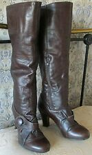 Leather high heel knee high dress boots by LOOK Size UK 4 Shades of brown