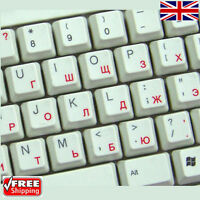 Russian Transparent Keyboard Stickers With Red Letters For Laptop PC Computer