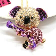Purple Enamel Rhinestone Koala Crystal Pendant Betsey Johnson Chain Necklace
