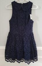 ASOS Navy Blue Lace Skater Dress, Sleeveless, Open Back, Flare Skirt, Size 6
