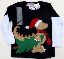 Ho-Ho-Ho Santa Dino Claws Dinosaur Christmas T-Shirt Size 2T - Navy - NEW w Tags